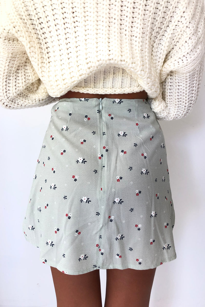 Mia Green Floral Skirt