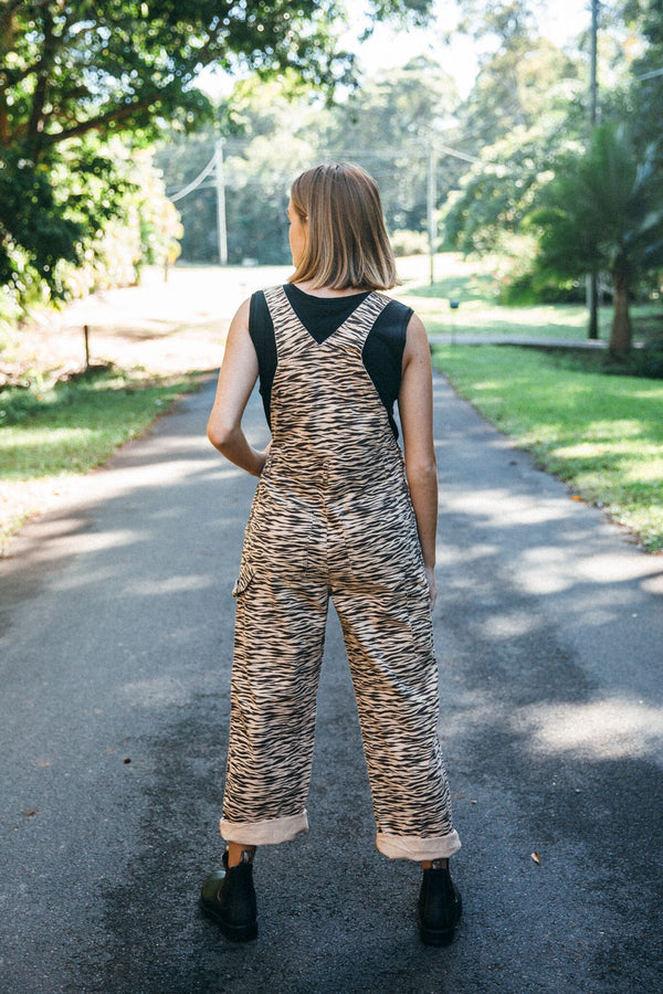 Tiger Long Denim Overalls + Pockets