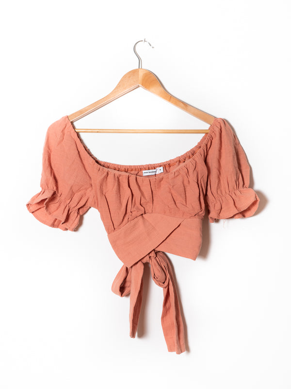 Blush Peasant Wrap Crop Top