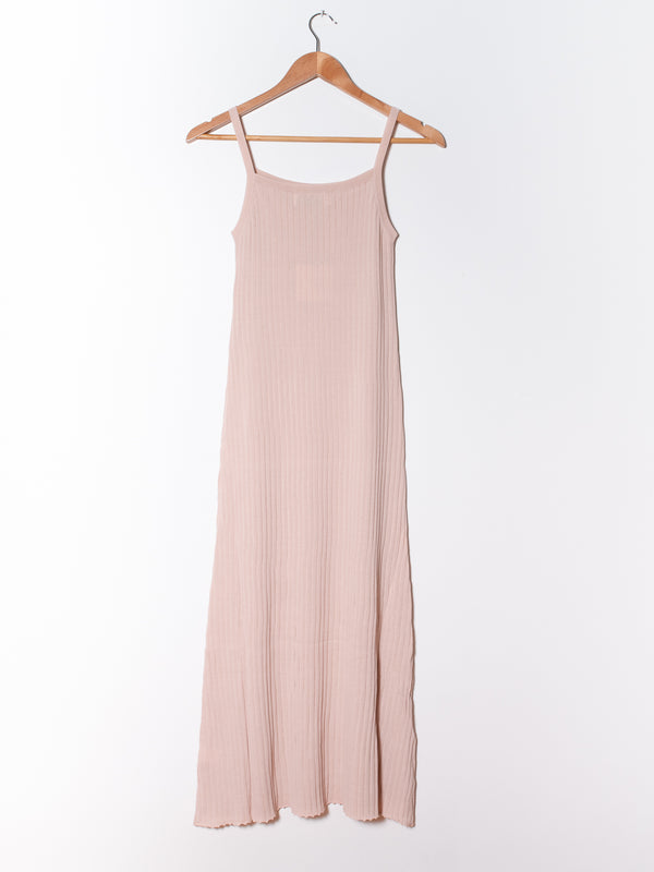 Soft Skin Tone Ribbed Knit Maxi Dress