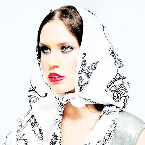 Silk Scarf Black & White 'Fairy Tale' | DREAM4LOVE