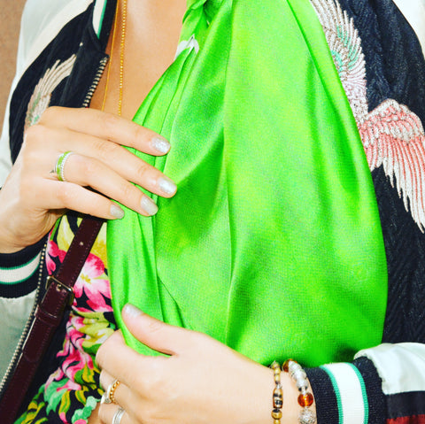 Silk Scarf Boho Luxe 'Green Python' | DREAM4LOVE