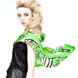 Silk Scarf Summer 'Green Heart' (90x90cm) | DREAM for LOVE