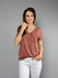 Casual Days Pocket Tee -Rust