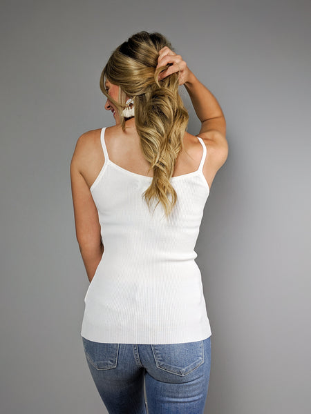 The Essential Ribbed Tank -White