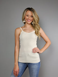The Essential Ribbed Tank -Ivory