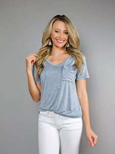 Casual Days Pocket Tee -Dusty Blue