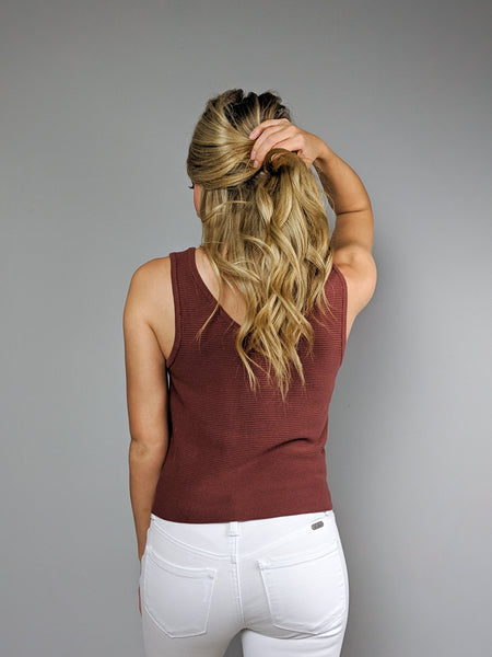 On The Horizon Sweater Tank -Rust