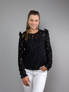 Manhattan Long Sleeve Lace Top -Black