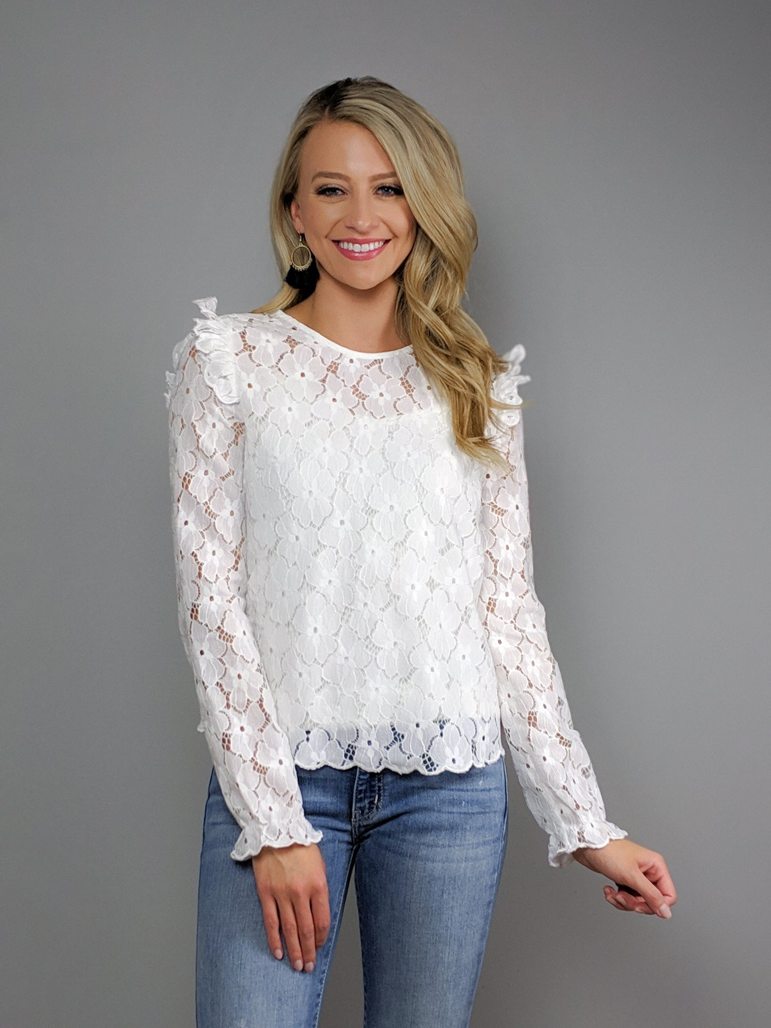London Long Sleeve Lace Top -White