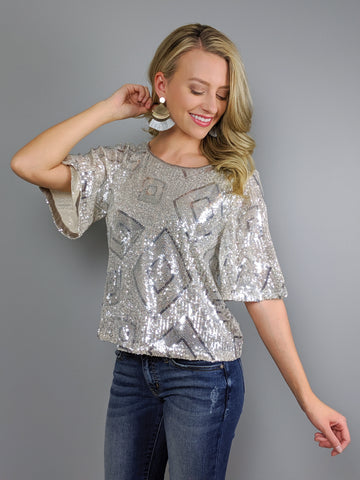 Light Up the Night Sequin Top