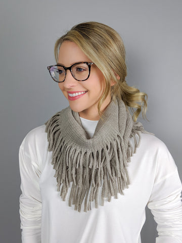 Follow Me Fringe Scarf -Taupe