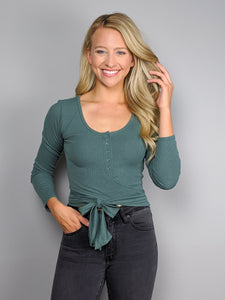 All Wrapped Up Crop Top -Teal