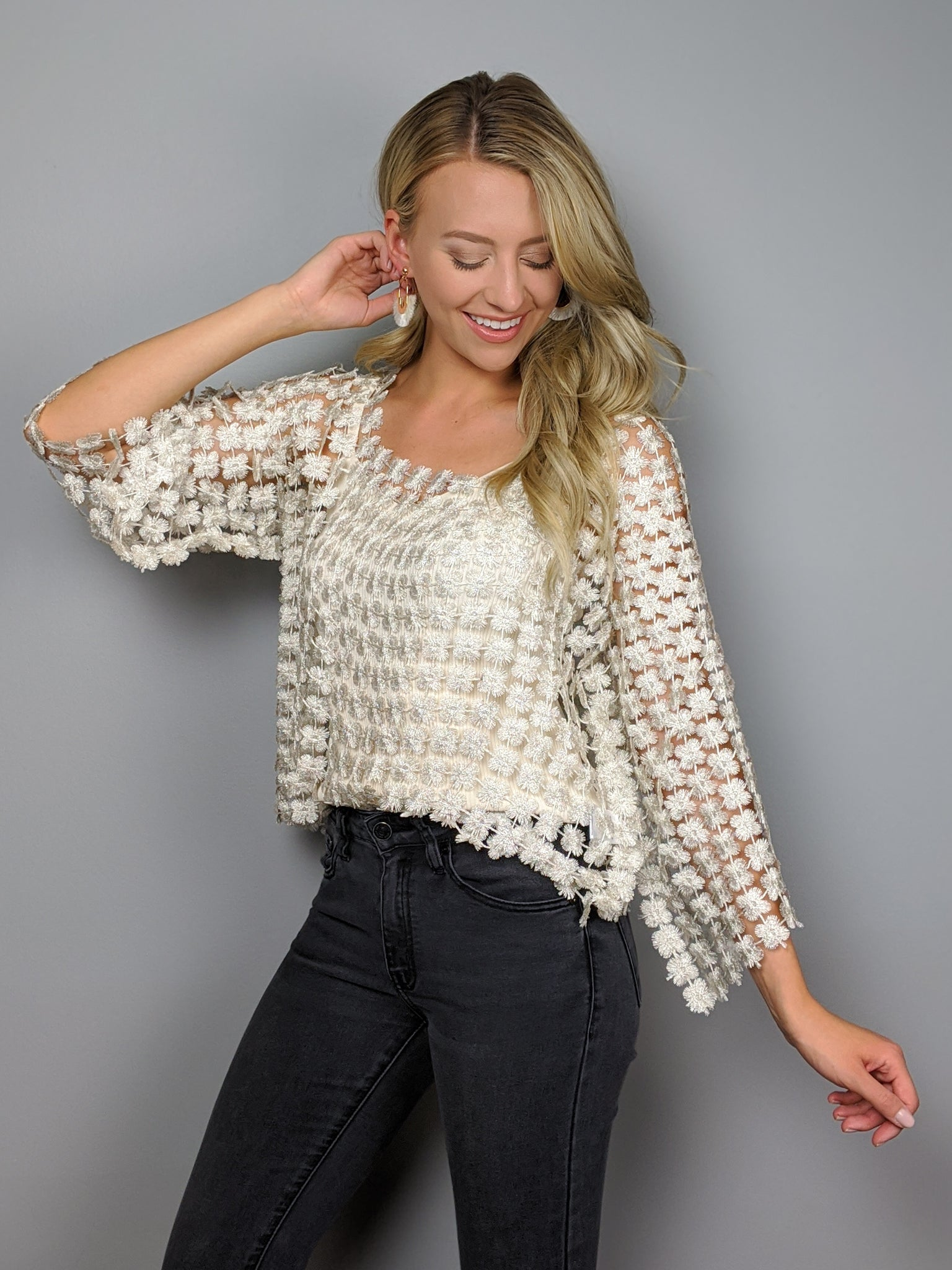 Pop the Champagne Lace Cutout Top