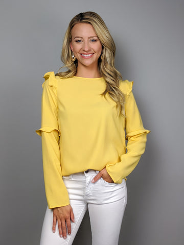 Tulip Ruffle Blouse -Yellow