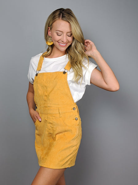 Willow Corduroy Overall Dress -Mustard