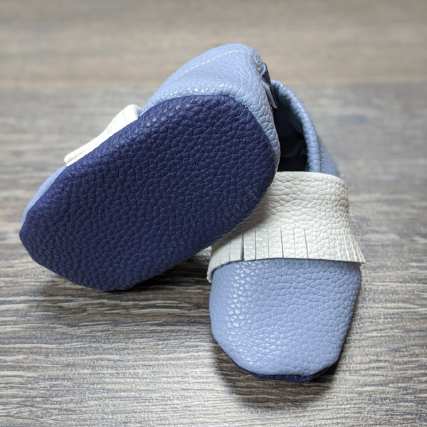 Megan's Mocs: Dusty Blue 3-6 Months