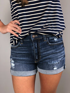 Cuffed Hem Shortie -Medium Wash