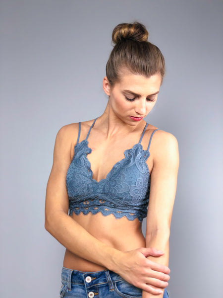 Simply Lace Bralette -Steel Blue