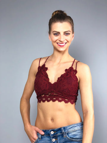 Simply Lace Bralette -Wine