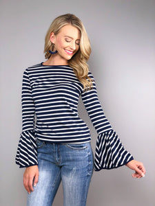 Hamptons Bell Sleeve Top -Navy
