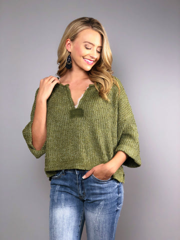 Boho Beach Crop Sweater -Olive