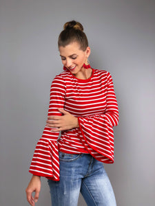 Hamptons Bell Sleeve Top -Red