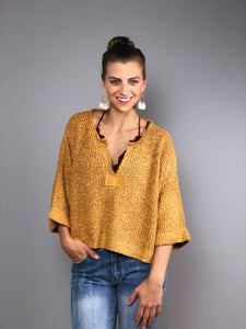 Boho Beach Crop Sweater -Mustard