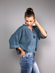 Boho Beach Crop Sweater -Steel Blue