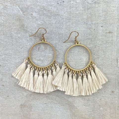 Dream Catcher Tassel Earring -Ivory