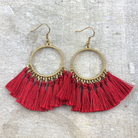Dream Catcher Tassel Earring -Red