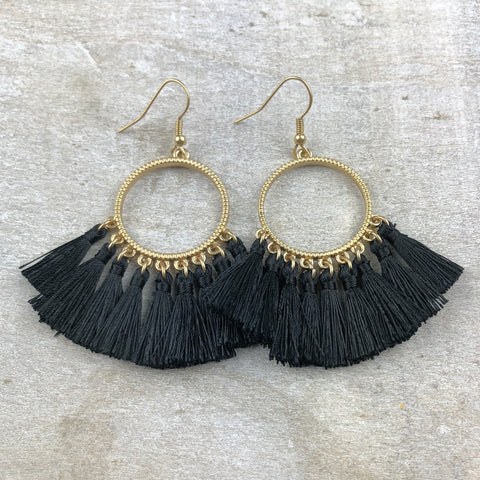 Dream Catcher Tassel Earring -Black