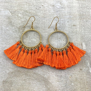 Dream Catcher Tassel Earring -Orange