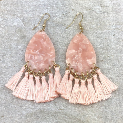 Seaside Beauty Tassel Earring -Light Pink