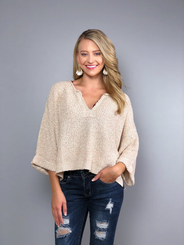 Boho Beach Crop Sweater -Oatmeal