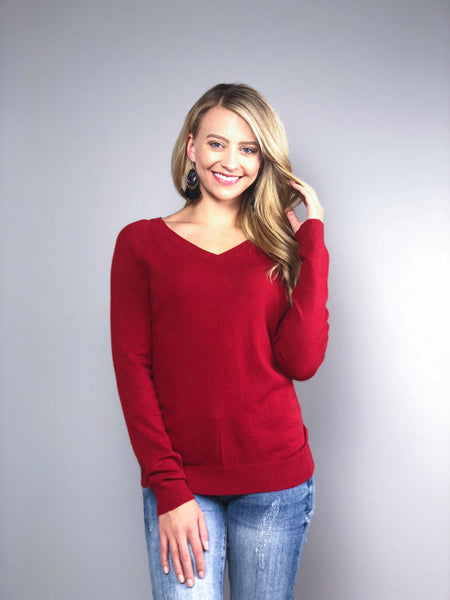 Simply Divine V-Neck Sweater -Red