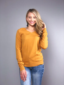 Simply Divine V-Neck Sweater -Mustard