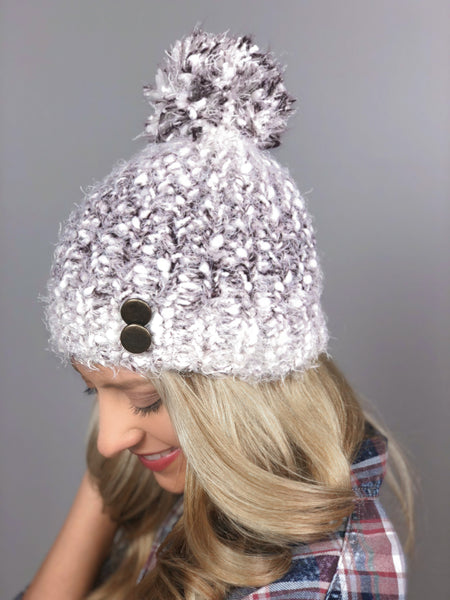 Morning Frost Knit Hat -Wine