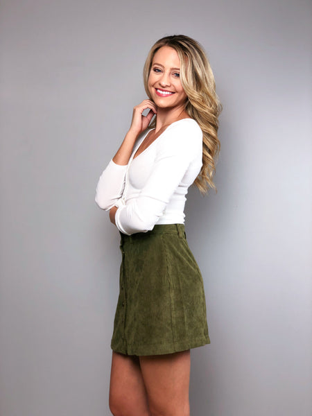 Take A Chance Corduroy Skirt -Olive