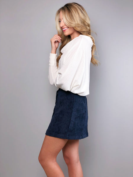 Take A Chance Corduroy Skirt -Navy