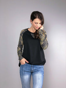 Country Camo Long Sleeve Top -Black