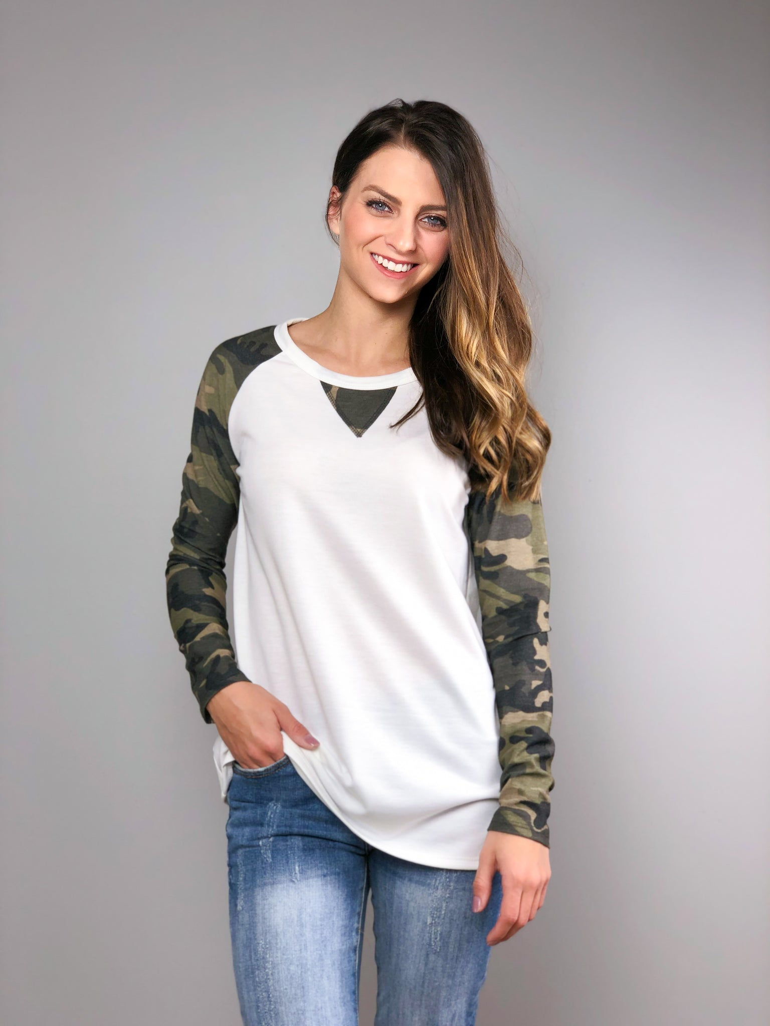 Country Camo Long Sleeve Top -White