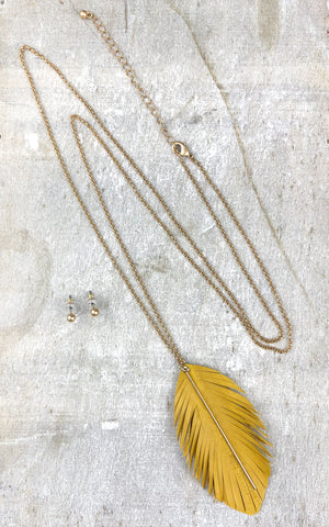 Feather Light Necklace Set -Mustard