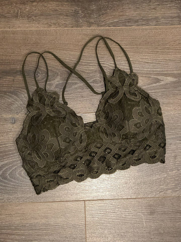 Simply Lace Bralette -Olive