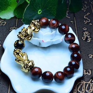 Double Pixiu Wealth Mantra Agate Bracelet