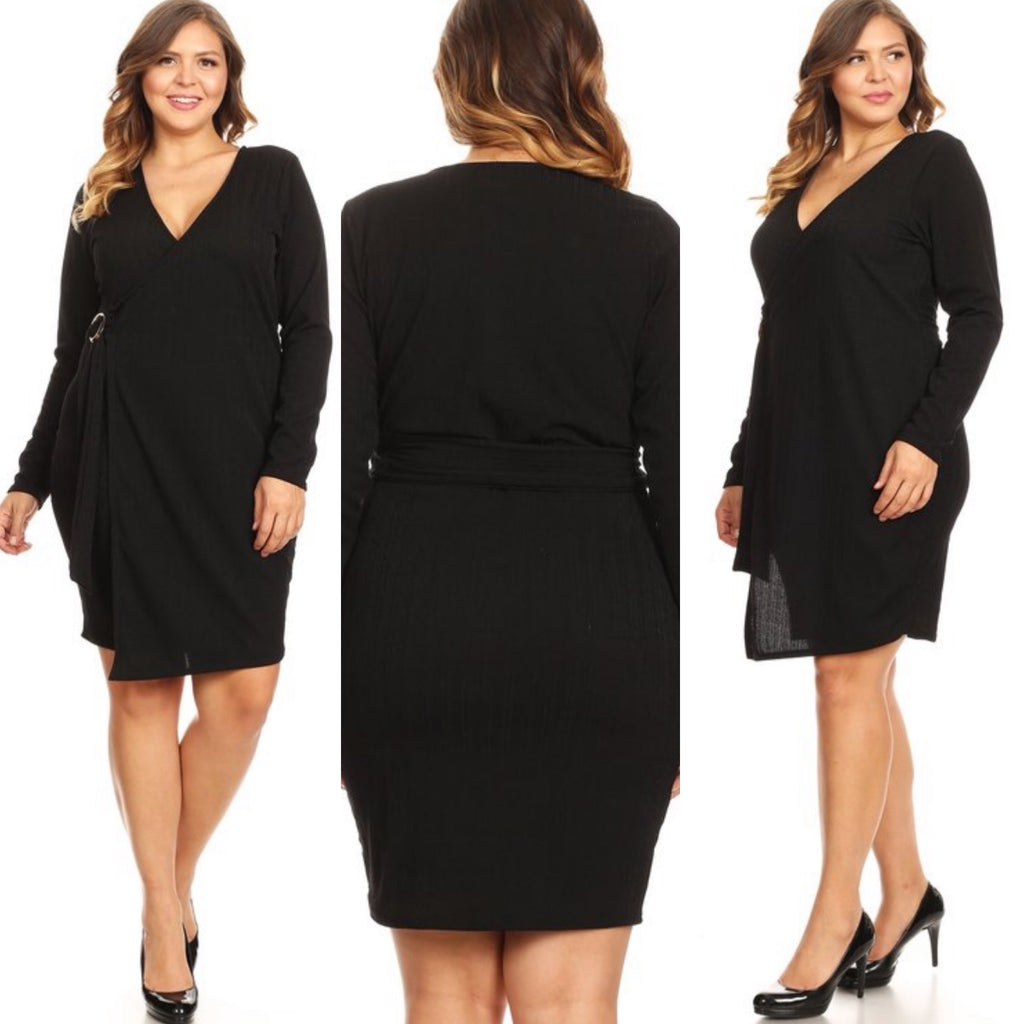 Elliana Wrap Dress-(Black)