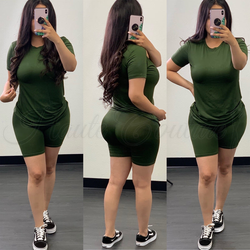 Layla Short Set-(Olive)