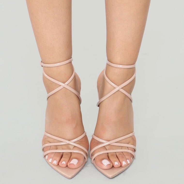 Daisy Strappy Heels Patent Nude Haute Couture