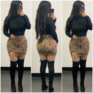 Poppy Mini Skirt-(Leopard)