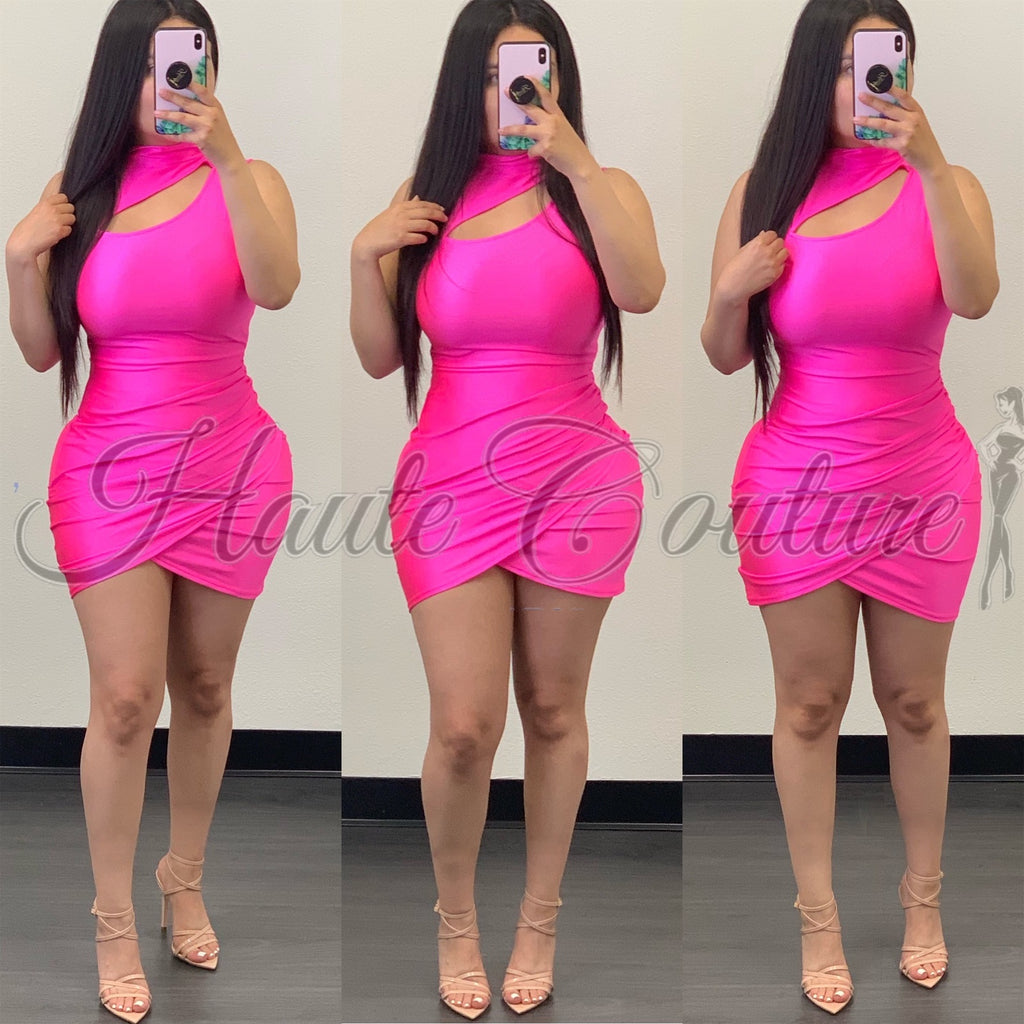 Posie Mini Dress-(Pink)